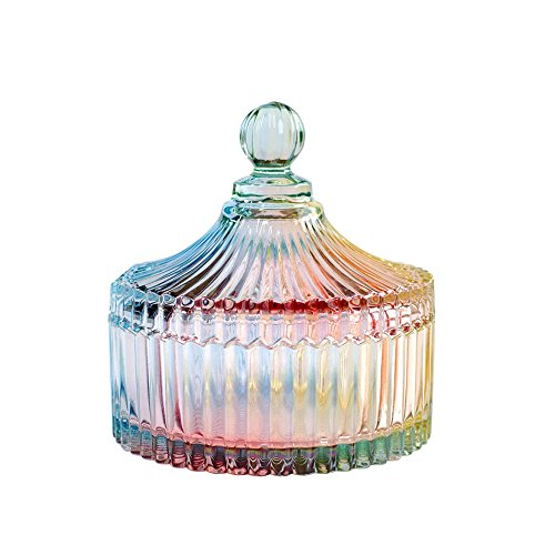 (CHOOLD Luxury Colorful Tent Shaped Crystal Candy Jar with Lid,Clear Glass Apothecary Jar Wedding Candy Buffet Jar Food Jar (10oz/24oz) )