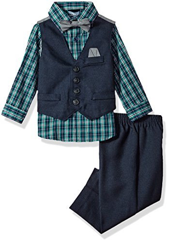 Nautica Boys' Set With Vest, Shirt, Pant, and Bow Tie, Dark Blue Check Vest, 24M