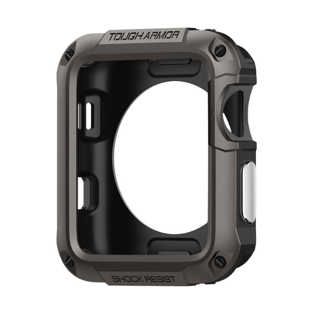 Spigen Tough Armor Apple Watch Case with Extreme Heavy Duty Protection and Built In Screen Protector for 42mm Apple Watch Series 3/Series 2/1/Original (2015)/Nike+ Sport Edition - Gunmetal