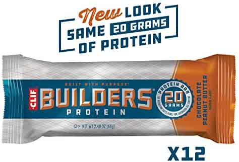 CLIF BUILDERS - Protein Bars - Chocolate Peanut Butter Flavor - (2.4 Ounce Gluten Free Bars, 12 Count) (Packaging and Formula May Vary)