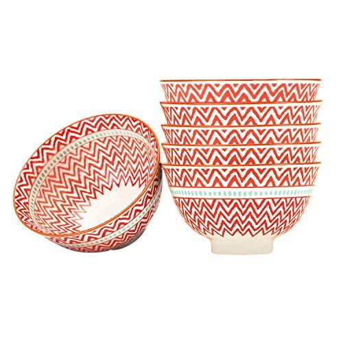 """Dessert, Ice Cream, Fruit Bowls Set of 6, Porcelain, Microwave Safe (4.5"""" Bowls Red)"""