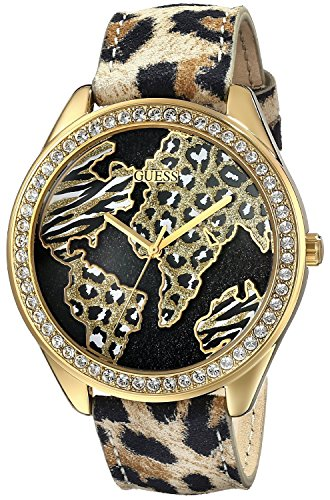 GUESS-Womens-U0504L2-Animal-Print-Gold-Tone-Watch-with-World-Map