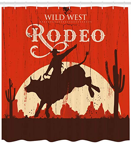Ambesonne Vintage Shower Curtain, Rodeo Cowboy Riding Bull Wooden Old Sign Western Wilderness at Sunset Image, Fabric Bathroom Decor Set with Hooks, 75 Inches Long, Redwood Orange ()