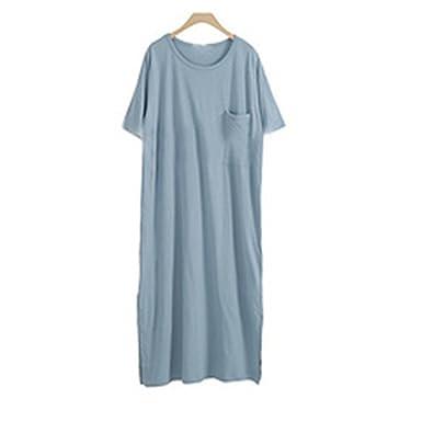 611bf549 Anna&Judy Women Summer Loose Short Sleeve Side Split Casual Solid ...