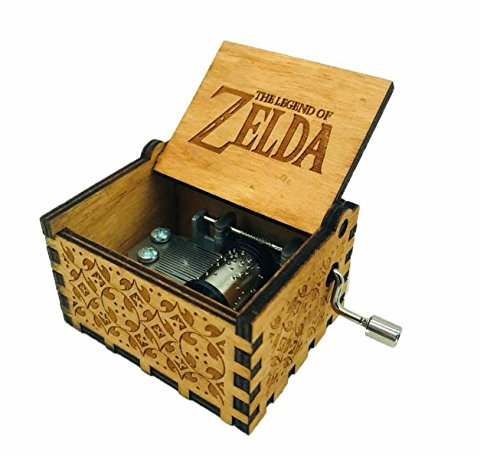 Antique Carved Wooden Music box Hand cranked Music: Game of Thrones, Harry Potter, Merry Christmas, Beauty and the Beast, and Zelda Theme Gift (Zelda; Song of Storms from Ocarina of Time, Wood) by Phoenix Appeal (Image #2)