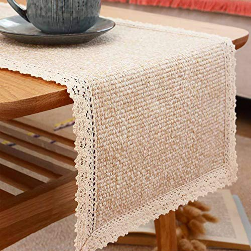 Tasera Burlap Cream Lace Table Runners Table Runner, Fashion Contracted Tea Table Cover Table Linen for Restaurant Kitchen Dining Wedding Party Banquet Events Farmhouse Decor (12″ W x82 L)