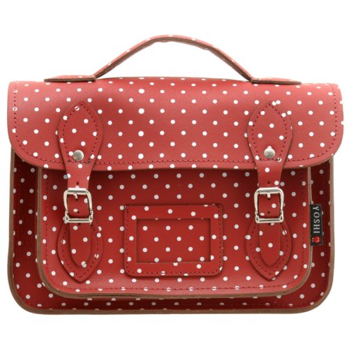 "10.5"" Small Leather Satchel Bag In Red With Polka Dots By Yoshi . Satchels"