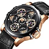 MINI FOCUS Men Watch Business, Sport Quartz Watches (Black, Gyro, Gear) Leather Band Strap Wristwatch for Men Gift MF0249G.03