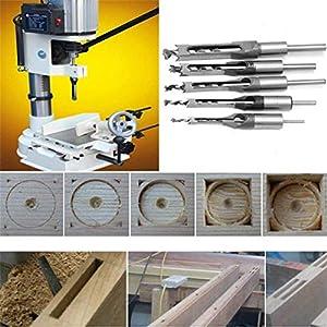 WSOOX Square Hole Drill Bit, 4Pcs Woodworking Mortiser Square Drill Bits, Spiral Drill bits Kits Mortise Press, Wood Drill Set Space Hole Drill (6.4 mm / 8 mm / 9.5 mm / 12.7 mm)