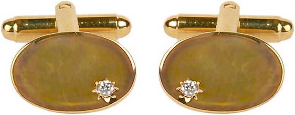 Gold David Van Hagen Mens Cubic Zirconia Cufflinks