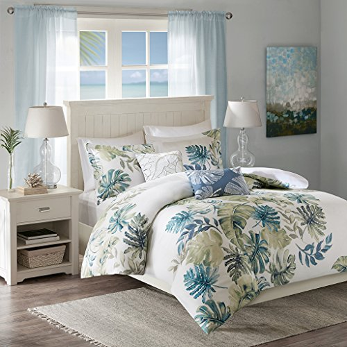 5 Piece Duvet Cover Bedding - Harbor House Lorelai Duvet Cover King/Cal King Size - White, Green, Blue, Tropical Plants, Leaf Duvet Cover Set - 5 Piece - 100% Cotton Sateen, Cotton Percale Light Weight Bed Comforter Covers