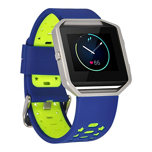 Lwsengme Fitbit Blaze Replacement Band,Silicone Watch Strap Adjustbable Wrist Band for Fitbit Blaze not Include Frame (Blue/Fluorescent Yellow)