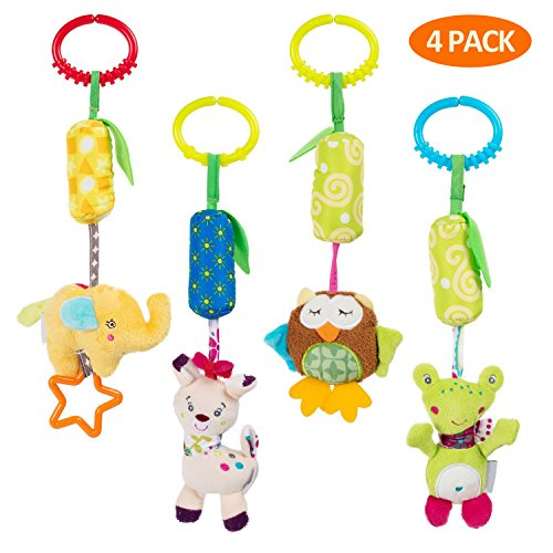 Crib Ornament - Daisy 4 Packs Infant Baby Plush Adorable Animal Car Seat Hanging Rattle Toy Kids Stroller Crib Pram Ornament Bells Puppet with Wind Chime and Squeak