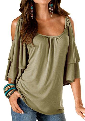 Stretch Ruffle Shirt (Merryfun Women's Summer Cold Shoulder Ruffle Sleeve Loose Stretch Tops,Army Green 2XL)