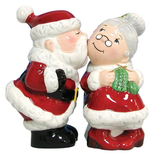 amazoncom westland giftware mwah magnetic santa and mrs clause salt and pepper shaker set 3 34 inch christmas salt and pepper shakers kitchen - Christmas Salt And Pepper Shakers