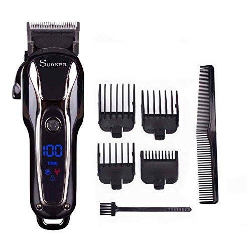 🥇 Surker Cortadora de cabello Cortapelos para hombres Recortador de barba de Pecisión Máquina de Barba Recargable Pantalla LCD Profesional