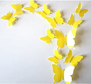 Cute Product 12Pcs 3d Butterfly Removable Wall Decals Diy Home Decorations Art Decor Wall Stickers Murals for Babys Kids Bedroom Living Room Classroom Office(Color:Yellow)