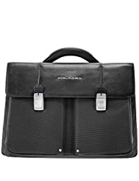 Piquadro Organized Computer Briefcase with Two Compartments, Black, One Size