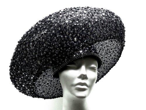 Jet Black Paillette Hat Haute Couture Stella Rhinestones ''Bird Nest'' by Mr. Song Millinery
