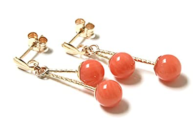 New 9ct Gold Coral double Drop Earrings LmwAY5B