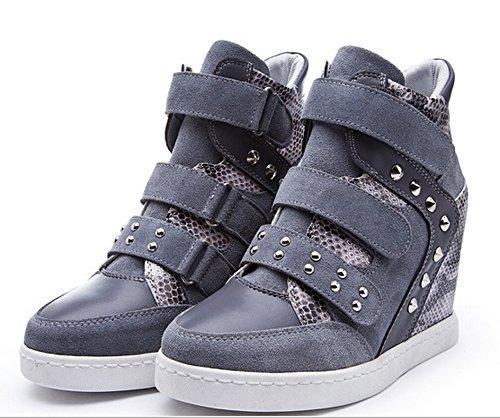 D2c Schoonheid Womens Snake Suede Gevette Hoge Top Lace Up Klittenband Wedge Synthetische Sneakers Grijs Suede Fleece