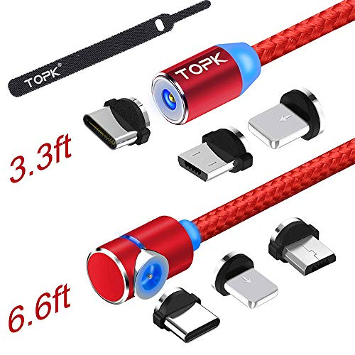 TOPK USB Magnetic Cable,Micro USB and Type C 3in1, 90 Degree Right Angle,Nylon Braided Cord,360 Magnetic Charging Cable with Led Light,(2-Pack,3.3ft/6.6ft) Magnetic Phone Charger Cable for Android