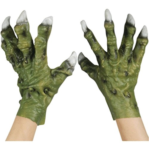 - OvedcRay Latex Green Monster Dinosaur Dragon Zombie Red Devil Costume Hands Claws Gloves