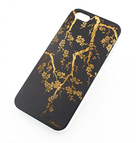 Black Ink Bamboo Wood Cover for Apple IPHONE 5 / 5S -