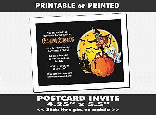Witch Halloween Party Invitation, Printable or Printed Option -