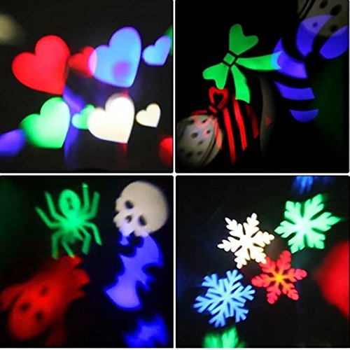 Yeaom LED Projector Lamp Moving Snowflake Spotlight 2 Gobo Lens Indoor Fairy Light Perfect For Christmas Halloween Wedding Party Decor IP44 ()