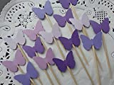 Mixed Purple Butterfly Cupcake Toppers - Food Picks - Party Picks (Set of 24)