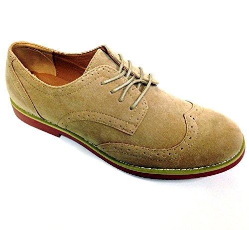 G4u-af Dk2s Heren Dress Suede Wingtip Classic Brogue Lace Up Leer Omzoomd Oxfords Casual Schoenen Sand-1