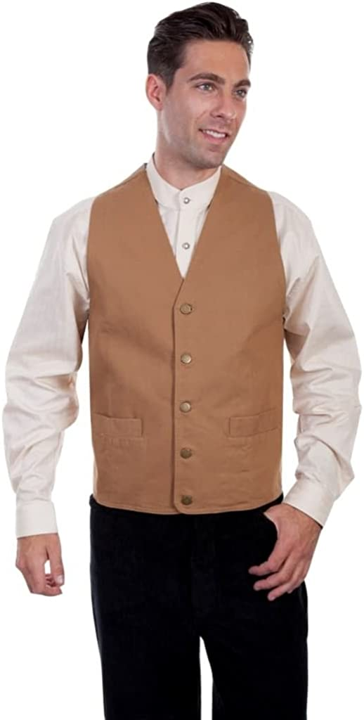 1920s Style Mens Vests Scully Western Vest Mens Lined No Lapel Five Button Front F0_RW041N $44.95 AT vintagedancer.com