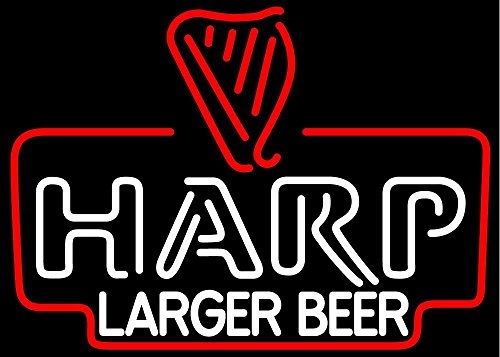 Free Shipping!Super Bright! New Harp Lager Beer Sign Handcrafted Real Glass Neon Light Sign Home Beer Bar Pub Recreation Room Game Room Windows Garage Wall Sign 19x15 inches ()