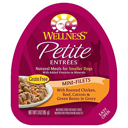 Wellness Petite Entrees Mini Filets Grain Free Natural Wet Small Breed Dog Food, Roasted Chicken & Beef, 3-Ounce Cup (Pack Of 24)