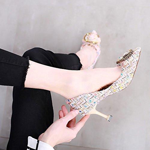 Oto Luz Solo Zapatos La Como Tacones Y Un En 37 Nuevo Gato o Con De Punta Mujer Primavera Agua M Altos Zapatos El Femeninos 7Cm Brocas Elegante Blanco De Elegante KPHY x4wFUU