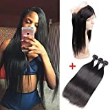 Cheap 8A Pre Plucked 360 Lace Frontal With Bundles Peruvian Straight Virgin Hair Bundles With Closure Remy Human Hair Weave (14 16 18 with 12)