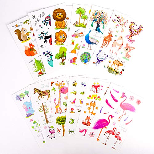Kids Temporary Tattoos, 12 Sheets Various Animals Temporary Tattoos for Kids Birthday, Christmas Party Favors Tattoos Stickers for Laptop, Cars, Motorcycle, Bicycle, Skateboard Luggage Waterproof