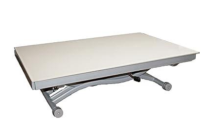 Rdm Concept Table Basse Relevable à Allonges Zen Verre Blanc