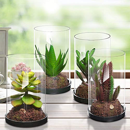 MyGift Set of 4 Green Plastic Artificial Plants, Faux Succulents in Glass Vases