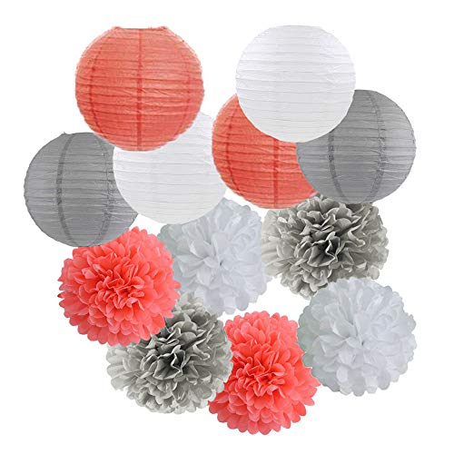 12pcs Mixed Coral Grey White Tissue Paper Pom Poms Paper Lanterns for Coral Themed Birthday Party Decor Baby Shower Decor Bridal Shower Decor Wedding Party Decorations