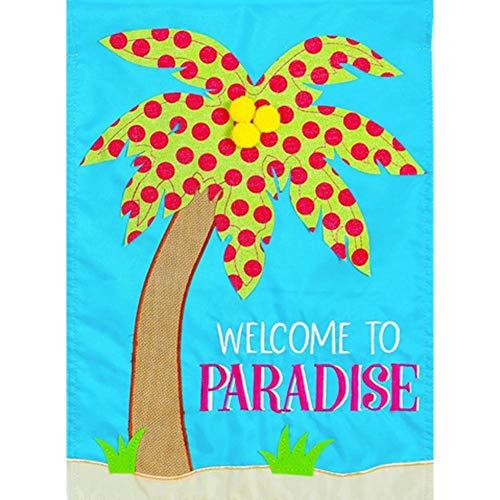 Evergreen Applique Garden Flag - Paradise Palm Tree