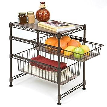 kitchen cabinet organizer. Seville Classics Stackable 3 Tier Sliding Double Basket Cabinet Organizer  with Bonus Liners 11 5 quot Amazon com