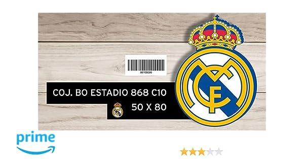 Manterol 868 - Cojín Bolitas con Forma de Escudo Real Madrid, 50 x 50 x 80 cm, Color Blanco