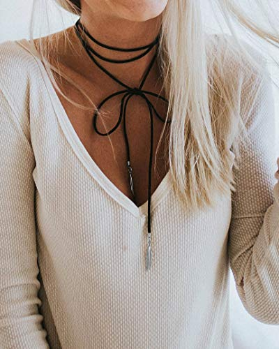 Kercisbeauty Summer Boho Black Velvet Long Rope Choker Necklace with Silver Feather Pendant for Women Girls Party Accessories