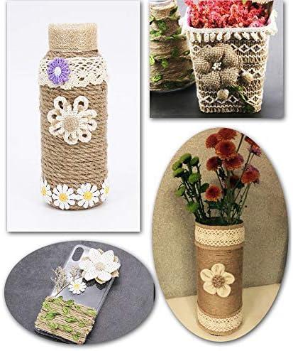 rotolo di nastro di iuta e nastro decorativo fatto a mano in stile rustico per matrimoni e casa Gnognauq set di fiori in iuta naturale