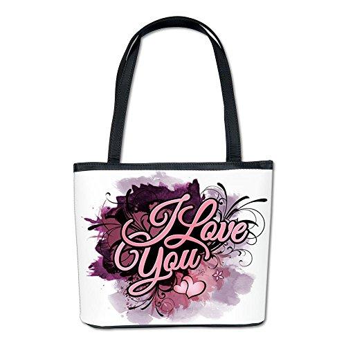 Bucket Bag Purse (2-Sided) I Love You Purple Floral Grunge