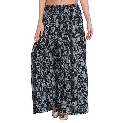 - Shararat Women's Palazzo Pants Cotton Loose Plain Flared High Waist Sharara (Black- Grey, Free)