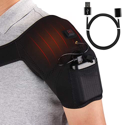 USB Heated Pain Relief Therapy Shoulder Brace for Rotator Cuff, Frozen Shoulder, Arthritis, Sport Injuries with 3 Adjustable Heating Modes, Auto Turn Off, Fit from S to L Size Body (Best Pain Relief For Frozen Shoulder)
