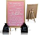 Pink Felt Letter Board With Easel Stand 12 x 18 | 718 Changeable Characters Including 1 inch and ¾ Letters, Symbols, Emojis Hashtag And More | Great For Instagram | Hook To Hang | 2 Storage Pouches
